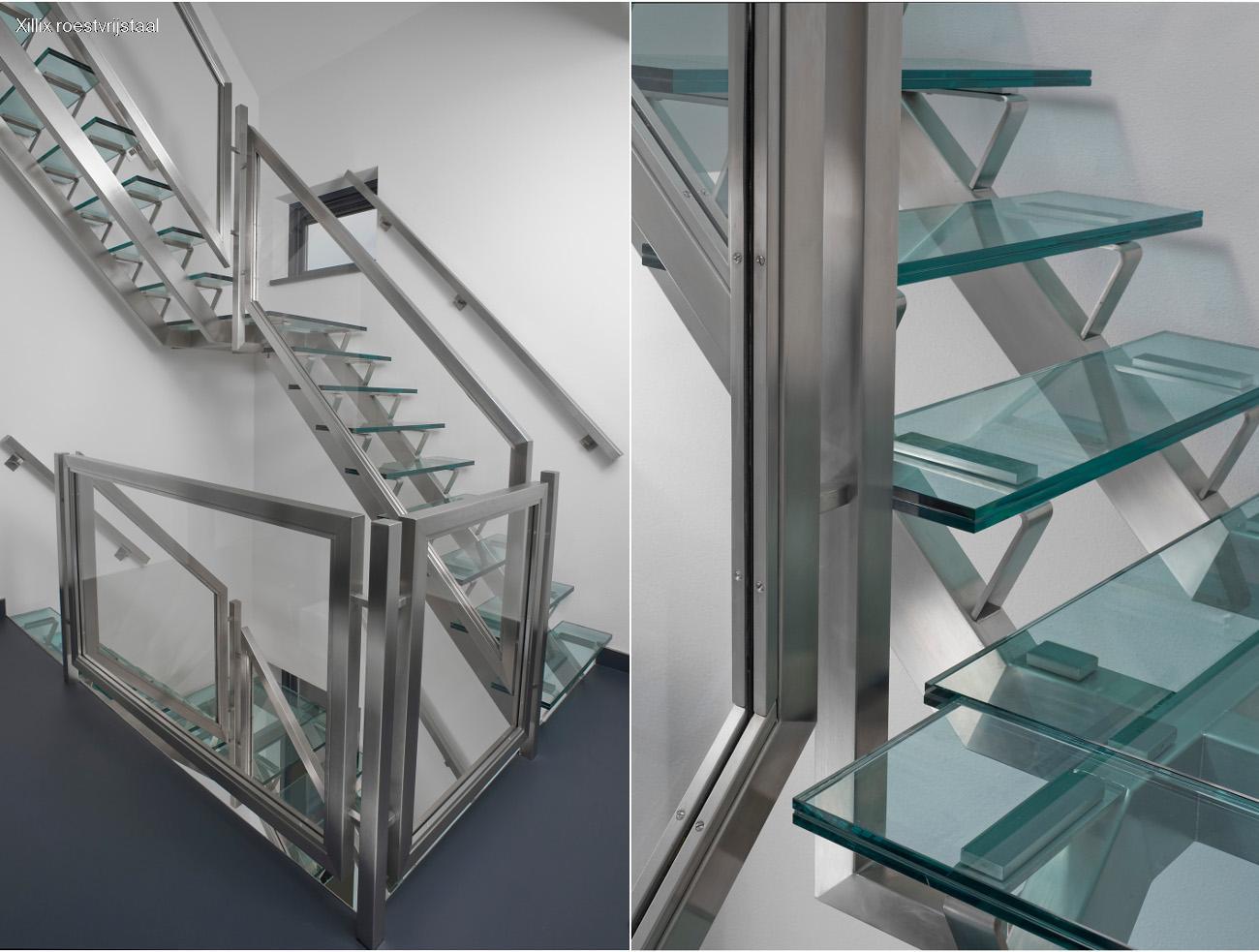 maatwerk traphek met brede rvs balusters en glas xillix.nl