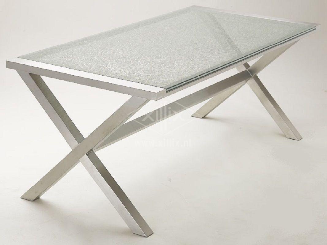Xillix roestvrijstaal xillix glazen tafels for Tafel op maat