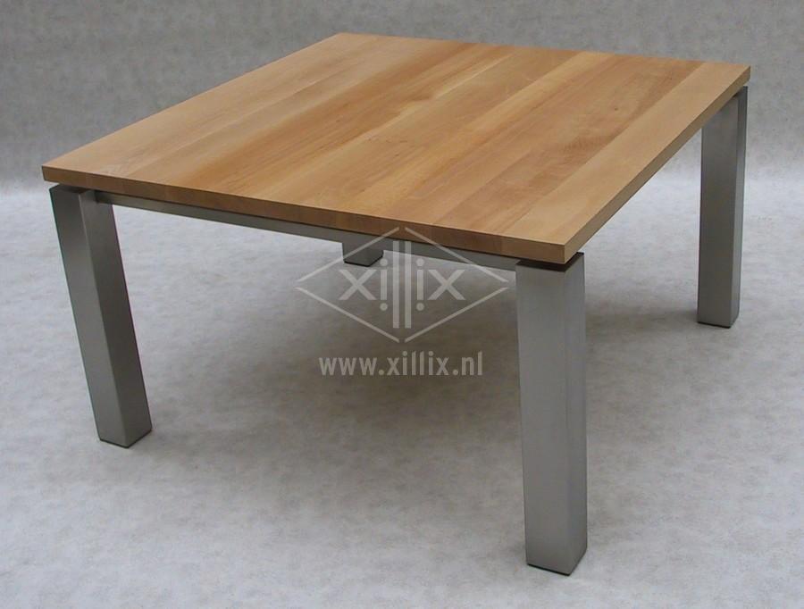 Teakhouten Tafel Met Stalen Poten.Xillix Roestvrijstaal Design Tafel Op Maat