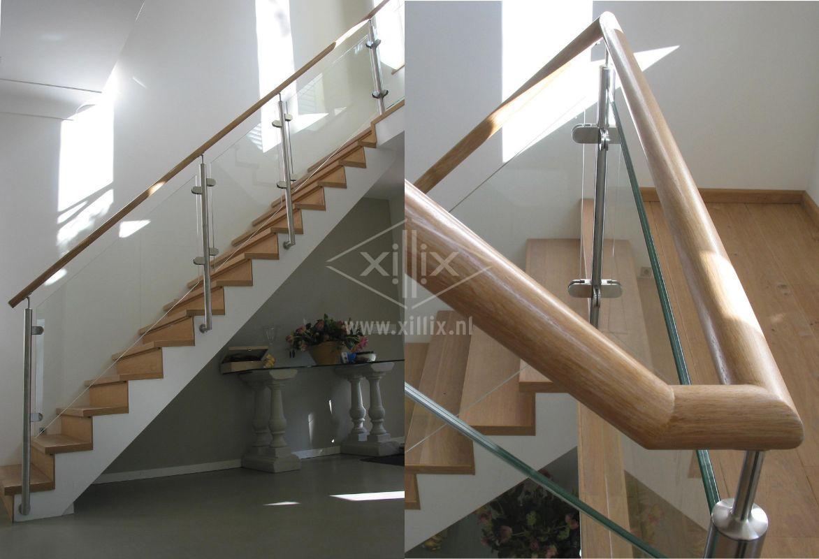 exclusief glazen traphek met houten leuning xillix.nl